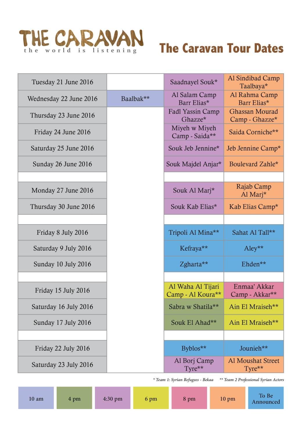 the caravan schedule EN2